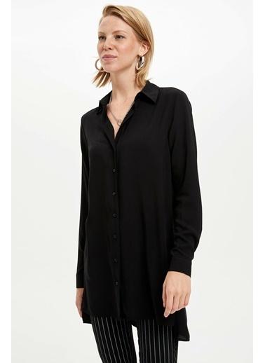 DeFacto Uzun Kollu Gömlek Tunik Siyah